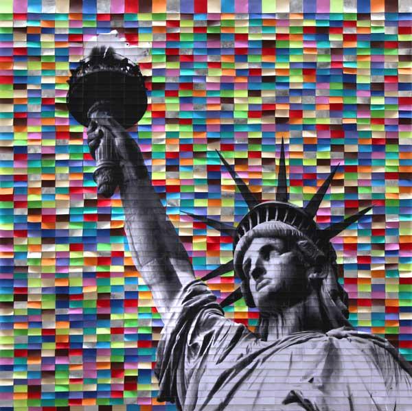 Liberty 2, 2017, tecnica mista su tela, 150 x 150 cm