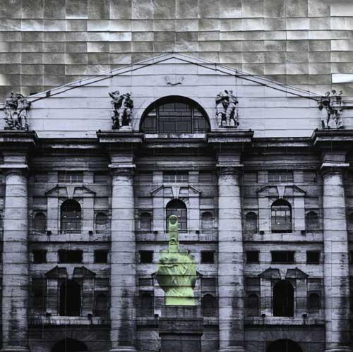 Piazza Affari, 2017, tecnica mista su tela, 80 x 80 cm